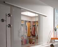 Дверь откатная двухстворчатая прозрачная 2000*2100 мм.