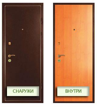 металлическая дверь двухстворчатая с полимерным покрытием