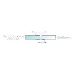 Уплотнитель акриловый угловой для стекла 10 мм, ПВХ, длина 2,2м. (091.10)