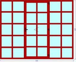 Межкомнатная перегородка в японском стиле для зонирования помещения коричневого цвета с матовым стеклом 3000х2400 мм.