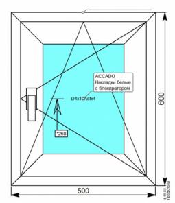 Окно 500х600 мм. с MF 1-кам. стеклопакетом