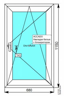Окно Darrio 680х1150 мм. 3 стекла