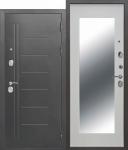 Входная металлическая дверь 10 см Троя Серебро МАКСИ зеркало Белый ясень