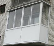 Остекление балкона алюминиевым профилем. 700х3200x700х1500 мм.