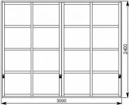 Межкомнатная перегородка в японском стиле для зонирования помещения 3000х2400 мм. Заполнение сэндвич-панель.
