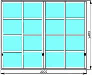 Межкомнатная раздвижная перегородка в японском стиле для зонирования помещения 3000х2400 мм.