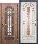 Входная металлическая дверь со стеклопакетом и ковкой Vikont - Сосна белая