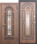 Входная металлическая дверь со стеклопакетом и ковкой Vikont - Грецкий орех