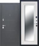 Входная металлическая дверь 7,5 см GARDA Серебро Зеркало Фацет Белый ясень